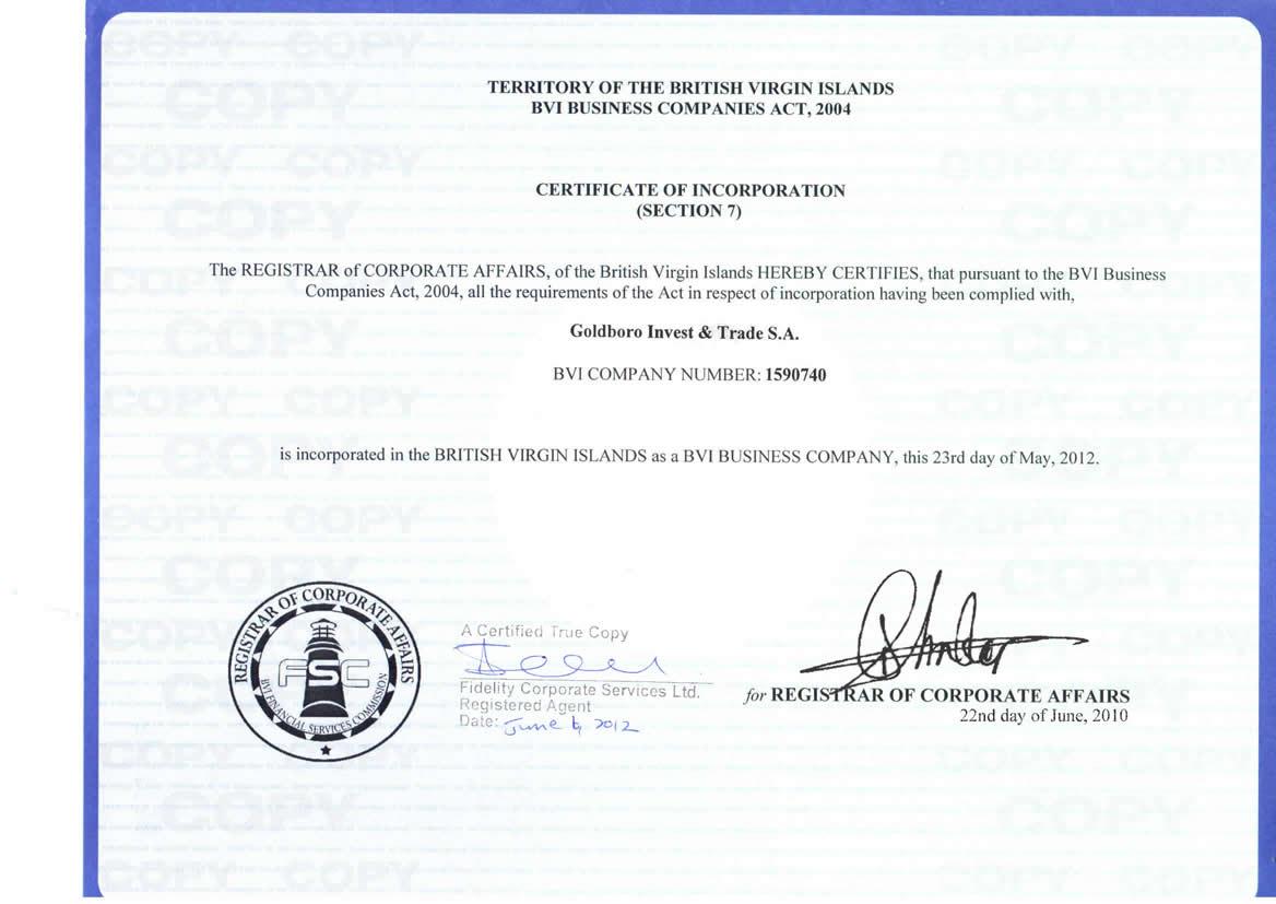 Сертификат компании Goldboro